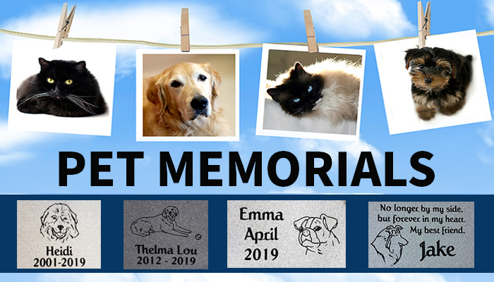 Artwork with photos of pets and their likeness in a pet memorial.